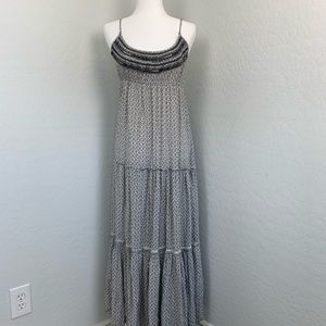 American Eagle ruffled boho maxi dress black gray